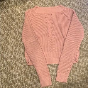 Pink, woven, sweater